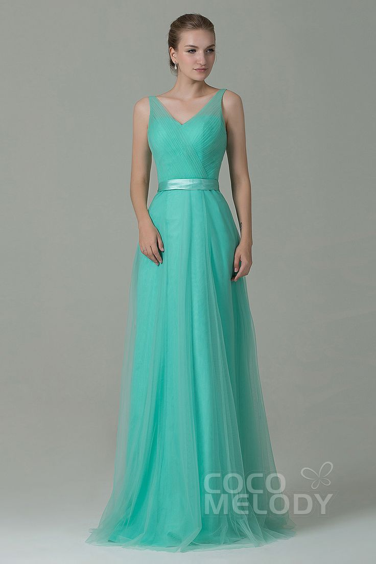 Christmas wedding dress zipper - Modest Sheath Column V Neck Natural Floor Length Tulle Mint Sleeveless Zipper Bridesmaid Dress