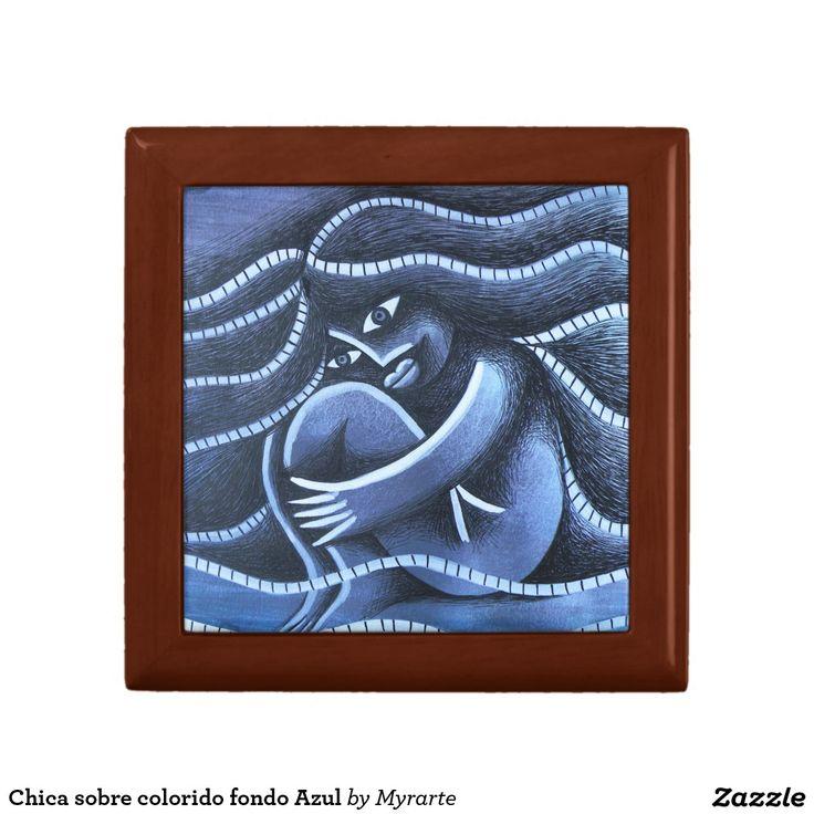 Chica sobre colorido fondo Azul Keepsake Box. Joyero, Jewelry Box. Producto disponible en tienda Zazzle. Product available in Zazzle store. Regalos, Gifts. #Joyero #Jewelry #box
