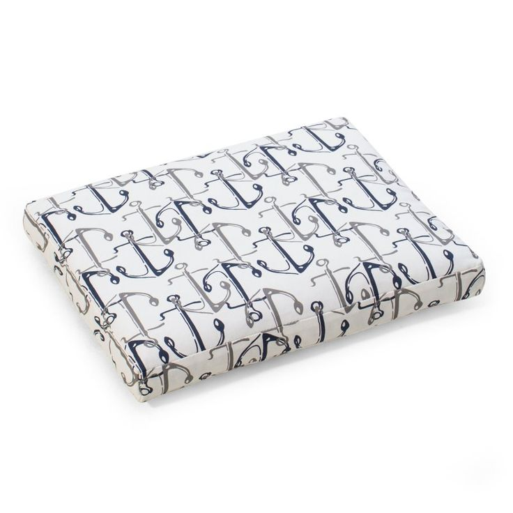 Coral Coast Nautical 21 x 19 in. Outdoor Seat Pad Nautical Anchors - 9413PK1-3785C
