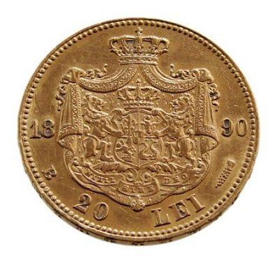 Romania 20 lei gold coin 1890