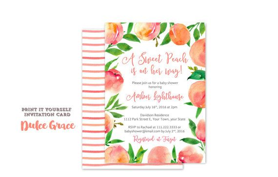Sweet Peach baby shower invitations Little by DulceGracePrintables