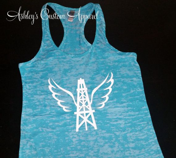 Oilfield Wife Tank - Oilfield Angel - Oilfield Wife Shirt - Oilfield Girlfriend - Oilfield Family - Oilfield Decal - Oilfield Life - Derrick by AshleysCustomApparel