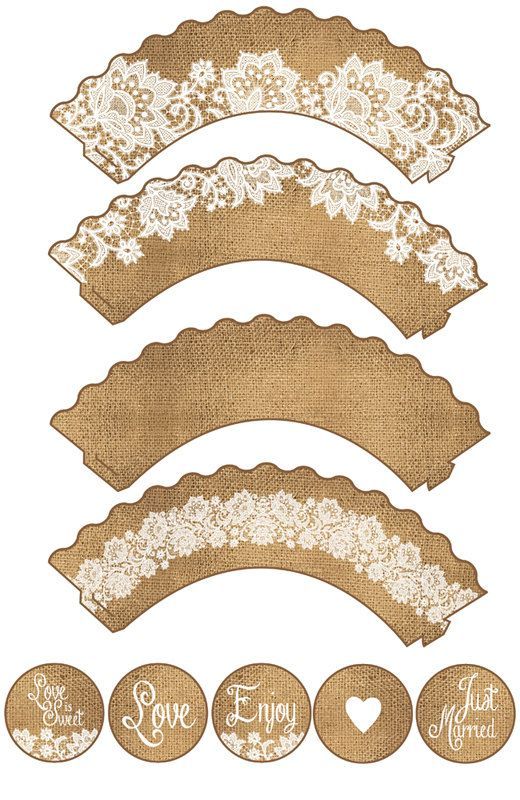Rustic wedding burlap & lace cupcake wrappers and cake toppers. These are an instant digital download, designed to print at home or take it to your