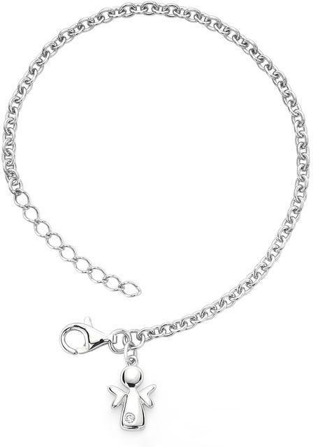 Little Diva Diamonds Little Diva Silver Angel Charm Bracelet with Diamond Accents for Children
