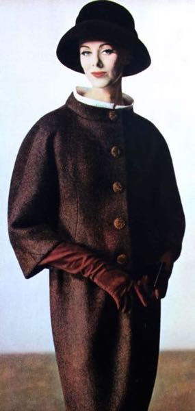 Maggi Eckart wearing coat by Balenciaga, 1960