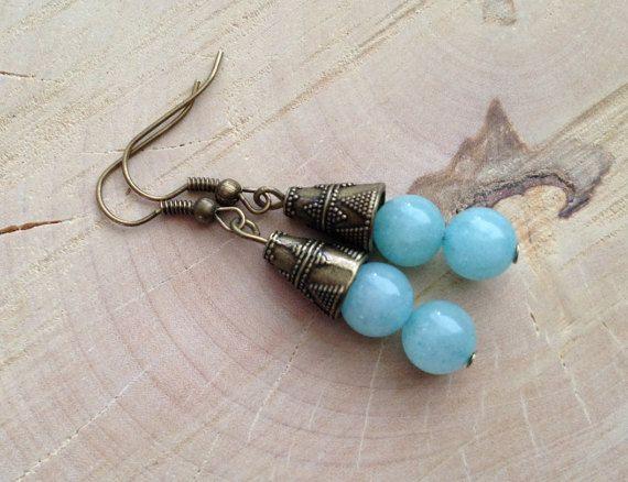 Sale - Aquamarine Dangle Bronze Earrings,Handmade Bronze Earrings,Aquamarijn Oorbellen, BFF Gifts, Gift For Her,Cadeaus Voor Vrouwen