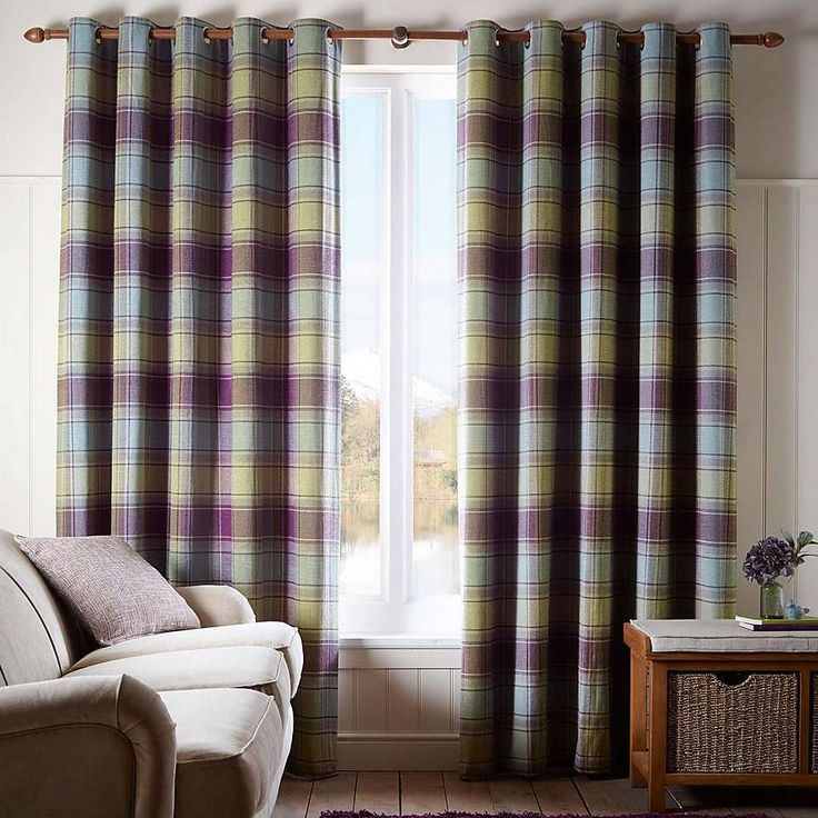 Orkney Purple Check Eyelet Curtains | Dunelm