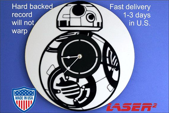 Star Wars BB8 Vinyl Clock. Vinyl Wall Clock. What makes our clocks different is the hard board backing to prevent warping. More than half the clocks I sell are created custom for people I personally interact with. I have a real storefront as well as selling online.