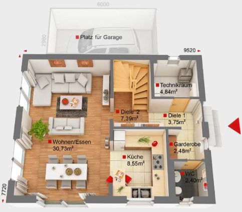 17 best ideas about einfamilienhaus bauen on pinterest for Einfamilienhaus grundriss mit garage