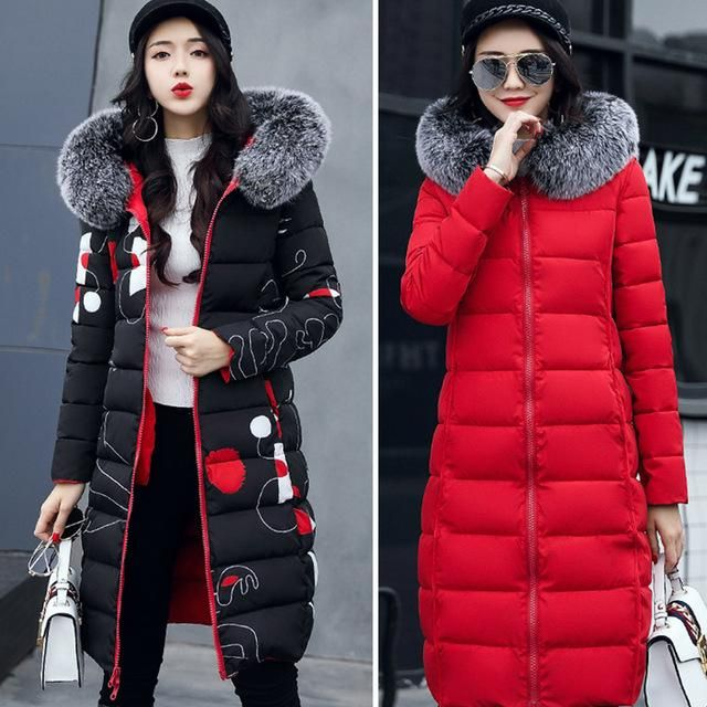 With fur hooded Woman Winter Jacket Women's Coat Plus Size 3 Padded long Parka Outwear for women Jaquata Feminina Inverno Red L 3