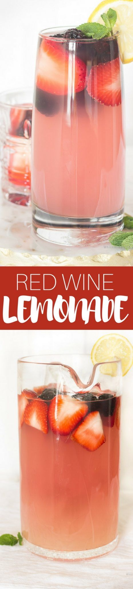 An easy recipe for red wine and berries lemonade. Red wine and fresh berries lemonade is a perfect refreshing cocktail perfect for gatherings.