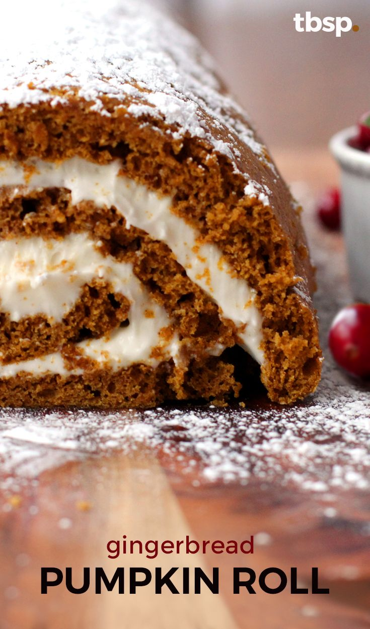 Two of the hottest flavors of the season come together in a suprisingly simple recipe for this Gingerbread Pumpkin Cream Cheese Roll, with an eggnog studded center. Delish!