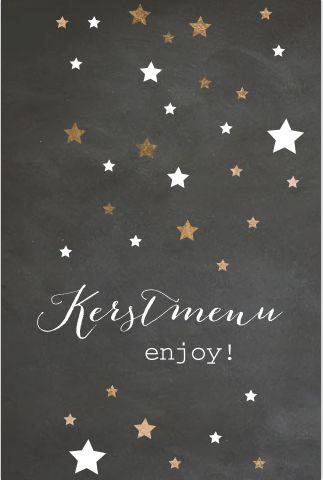 Kerstmenukaart met chalkboardprint speelse sterren en bestek icoontjes. Geheel zelf aan te passen.