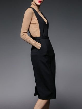 Black Plunging Neck Sleeveless H-line Plain Midi Dress