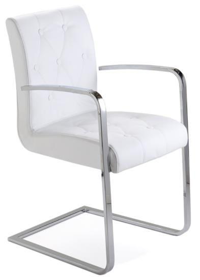 Sedia in metallo cromato lucido con seduta in pelle