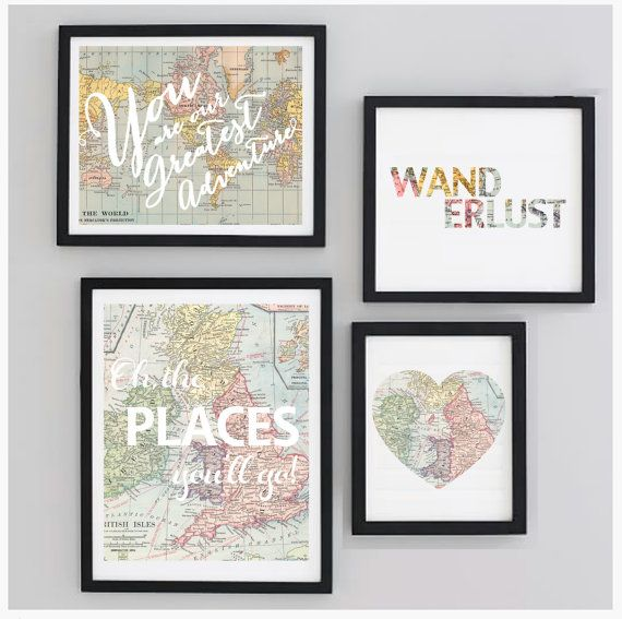 Printable Gallery Travel Nursery Wall Art Set Map by CheekyAlbi Kennedy's playroom