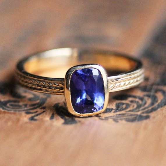 Tanzanite ring gold, tanzanite engagement ring, braided ring, gift for wife gift, recycled gold, bezel engagement ring, wheat ring, custom