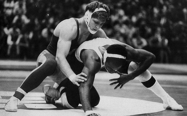 owa State's Dan Gable takes on Northwestern's Clyde Smith in the 150 lbs. finals of the 1970 Midlands. A much-anticipated rematch between Gable and Larry Owings, who handed Gable his lone collegiate loss coincidentally at McGaw Hall during the 1970 NCAA Championships, from the University of Washington was expected to happen in the finals of the 1970 Midlands, but NU's Smith defeated Owings 6-3 in the quarterfinals. Gable won his fifth of six Midlands titles in 1970.