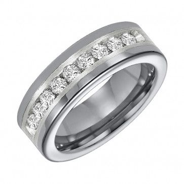 Triton, Tungsten Carbide & Sterling Silver 8mm I2-IJ Diamond Wedding Band, 1 ctw