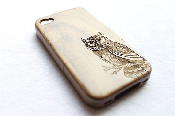 Real Wood iPhone 4 Case iPhone 4s Case Walnut Owl door KarlWorkShop