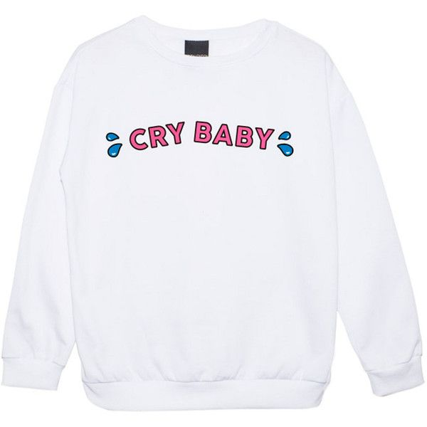 Cry Baby Sweater Jumper Womens Ladies Fun Tumblr Hipster Swag Fashion... (€22) ❤ liked on Polyvore featuring tops, sweaters, sweatshirts, black, women's clothing, grunge sweaters, star print top, goth top, retro tops and hipster tops