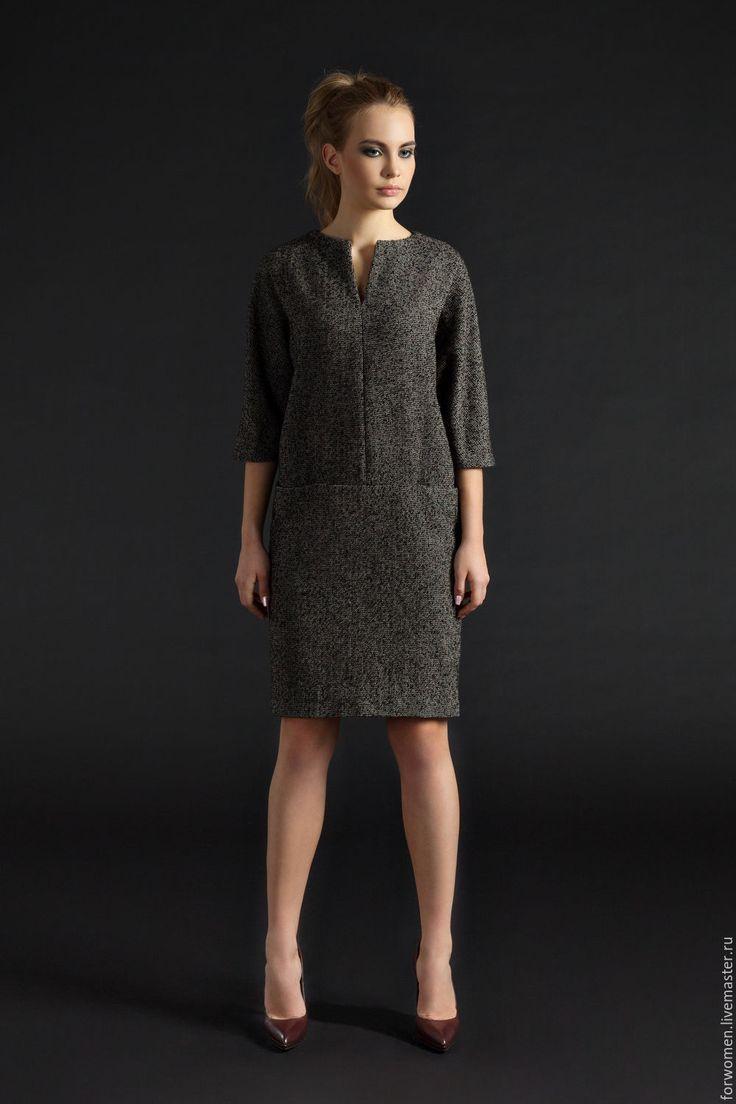 Купить Платье с карманами, коричневое - коричневый, однотонный, офисное платье, платье для офиса, платье деловое
