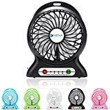 Portable Fan Dizaul mini usb rechargeable fan with 2600mAh Power Bank and Flash lightfor TravelingFishingCampingHikingBackpackingBBQBaby StrollerPicnicBikingBoating (Black)