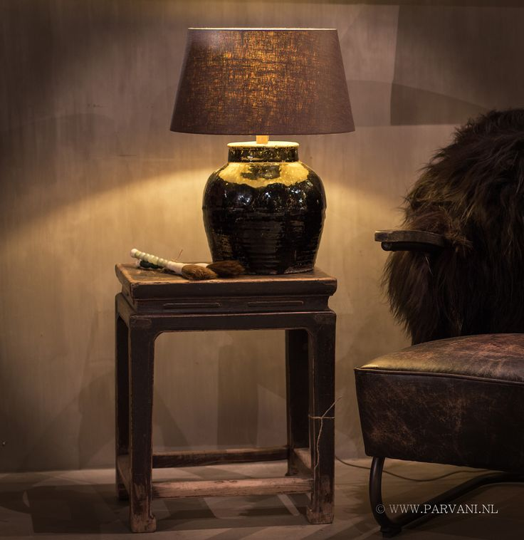 Parvani | kruiklamp-chinees-zwart-glazuur-tafeltje-patina