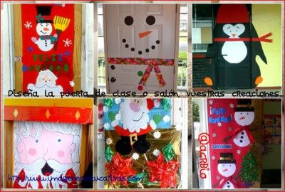 Manualidades navide as puertas collage decoraci n de - Decoracion navidad infantil manualidades ...