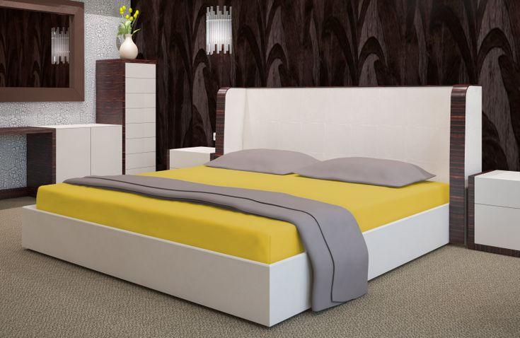 Prześcieradło na łóżko frotte żółte