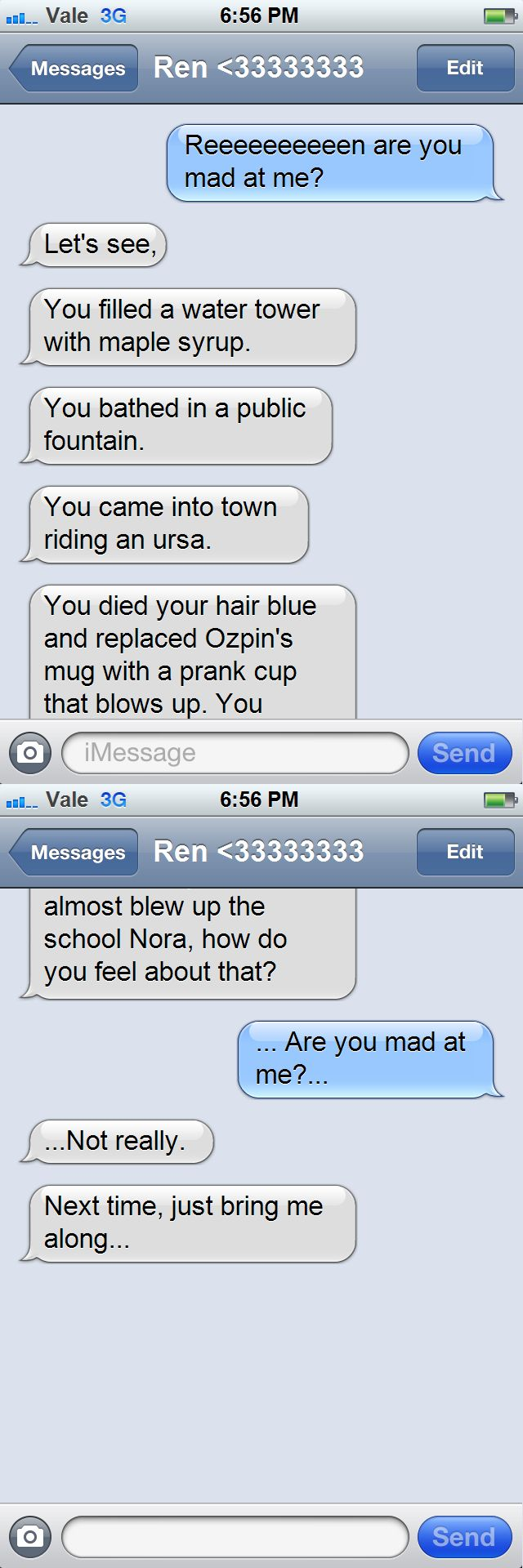 i could actually picture this as something that they would text about if they did so in rwby lol