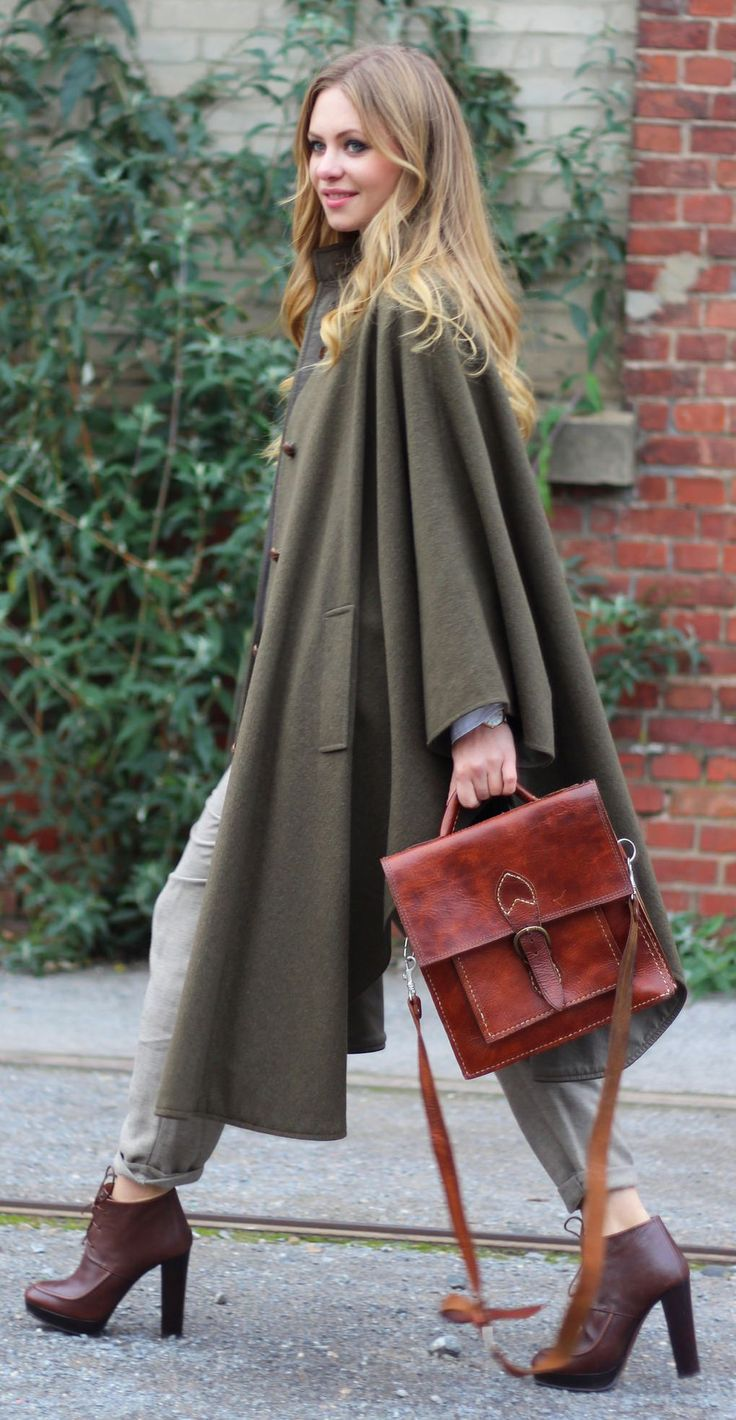 Olive Maxi Cape and THAT bag. Too much chic.