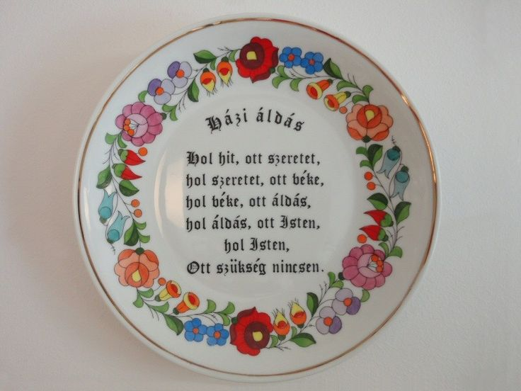 Porcelán kistányér Házi áldással, kalocsai motívummal