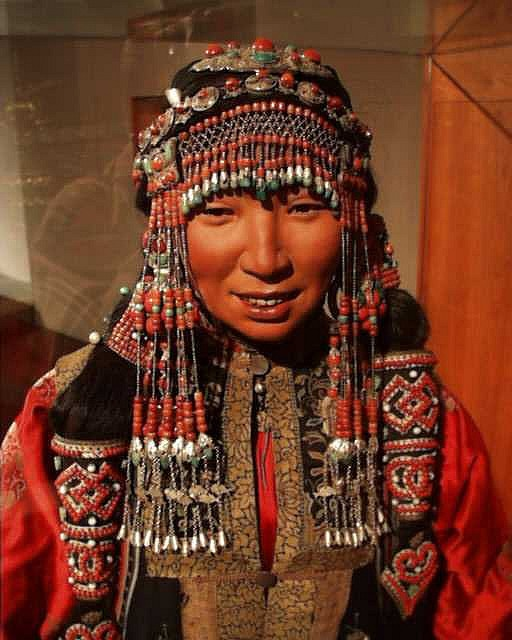 Mongolian woman's costume of the Abaga region on display in Copenhagen, Denmark by Miguel C, via Flickr