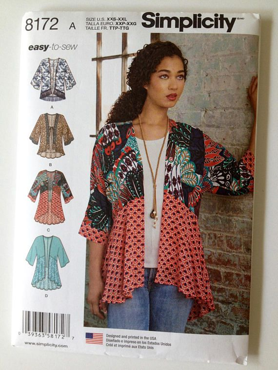 Simplicity Ladies Easy Sewing Pattern 8172 Kimono Tops with Length Fabric ...
