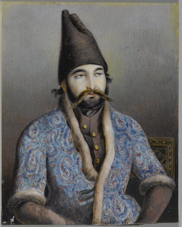 Portrait of a Nobleman or Royal Figure (Possibly Muhammad Shah Qajar)      Artist: possibly Abul Hasan Ghaffari, Sani al-Mulk, active, 1814-1866     Medium: Ink and opaque watercolor on ivory or shell     Place Made: Tehran, Iran     Dates: first half 19th century     Dynasty: Qajar     Period: Qajar     Dimensions: 5 3/8 x 4 1/4 in. (13.7 x 10.8 cm)  (show scale)     Collections:Arts of the Islamic World