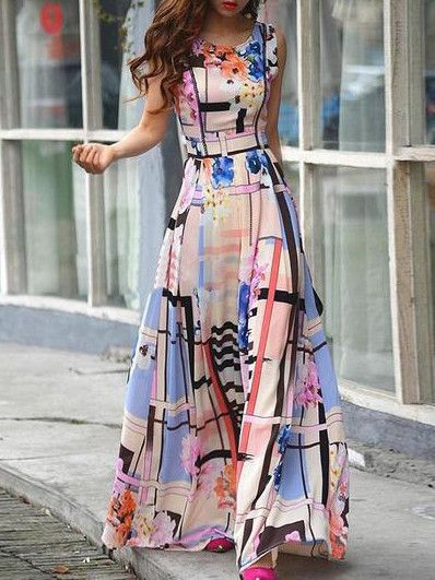 Round Neck Florals Maxi Dress