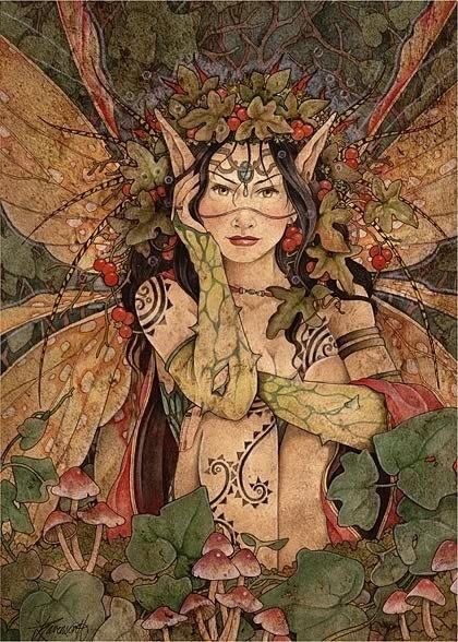 Mabon fairy - there is something different about this one. Somehow a bit less elegant and more... pagan