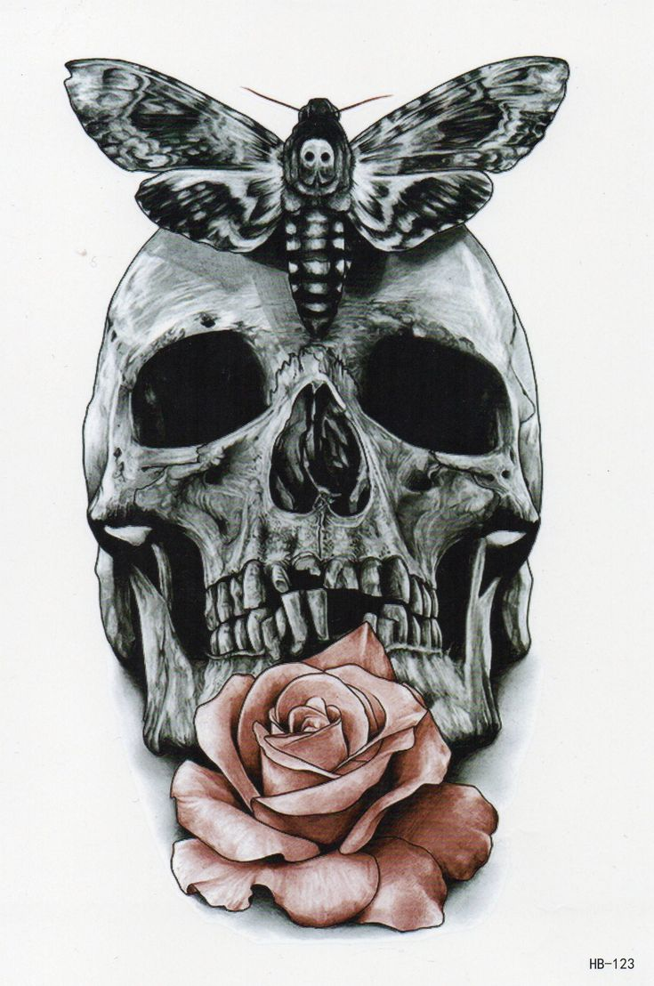 Totenkopf Schädel Rose Blume Bunt Schmetterling Temporary Temporäre Einmal Tat… – Totenkopf Temporary Tattoos  Skull Temporary Tattoos