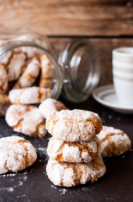 Crisp on the outside, chewy in the middle and dusted with confectioner's sugar.  These cinnamon amaretti cookies are totally addictive.