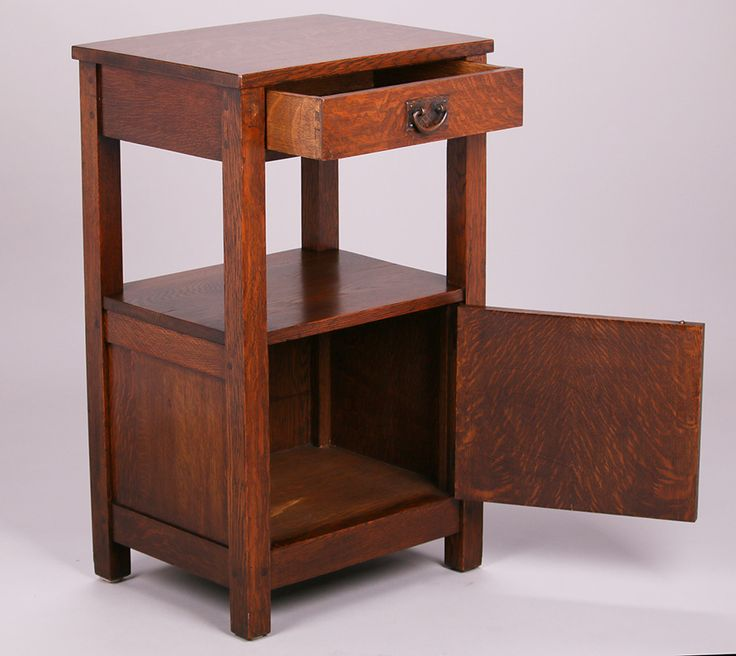 Extremely rare Gustav Stickley tall nightstand (aka Somno) c1907-1910. Excellent original finish. Signed.  33.5″h x 20″w x 16″d