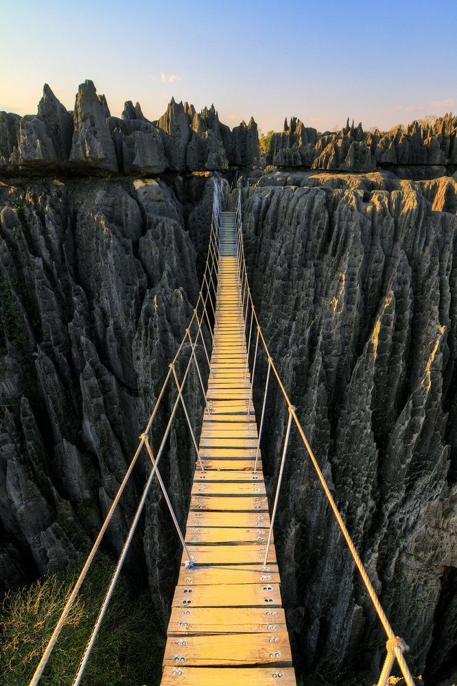Rope suspension bridge at Tsingy de Bemaraha National Park