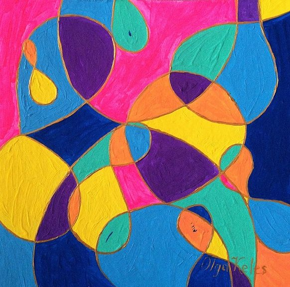 """""""Wow Jr. II"""". 15#15 Acrilyc, Wood cardboard #wow #olgakeles #colorful #painting #colors"""