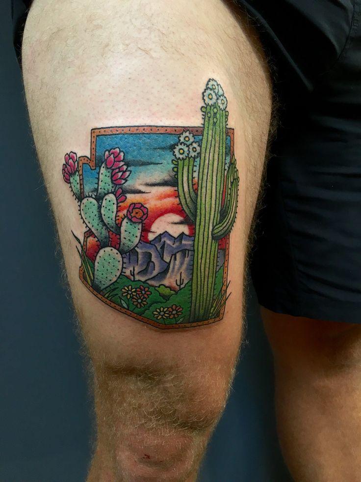 Blooming Arizona Desert by Paulski at Golden Rule Tattoo in Phoenix AZ