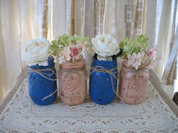 4 pint mason jars ball jars painted mason jars flower for Denim centerpieces