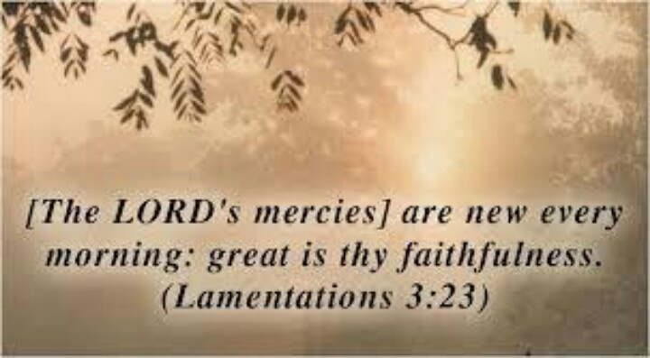 Major Prophet Lamentations 3:22-23 (ESV)  22 The steadfast love of the Lord never ceases;[a]     his mercies never come to an end; 23 they are new every morning;     great is your faithfulness.