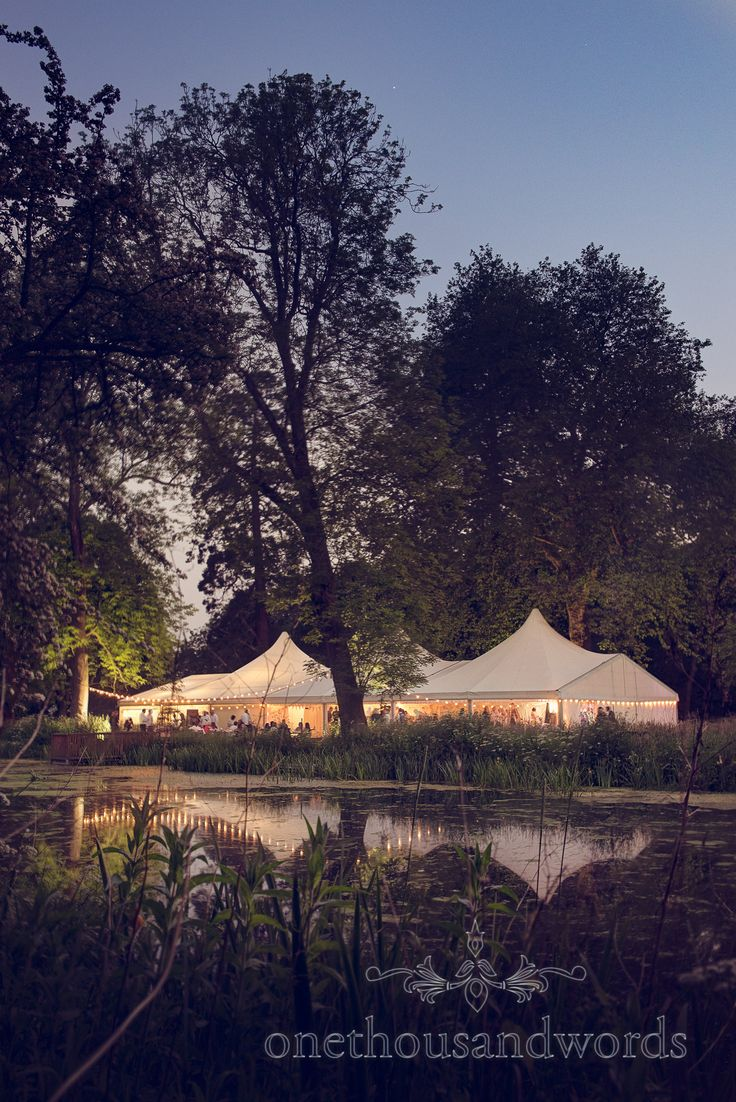 Wedding Marquee With Lake At Night Deans Court Venue In Dorset Photography By