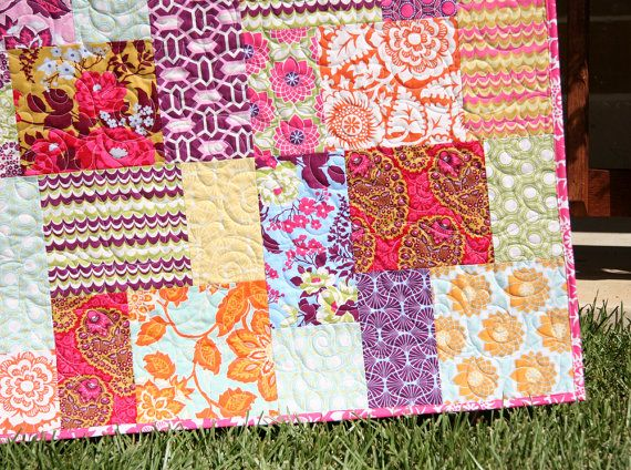 Bright Modern Baby Quilt Colorful Heirloom Girl Bedding