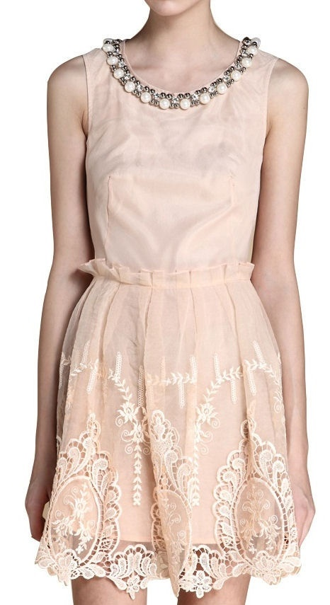 Peach Lace Dress ღ