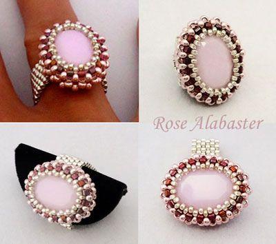 Rose-Alabaster ring  #beadwork   #jewelry #crafts